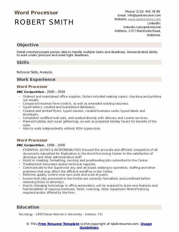 Word Processor Resume example