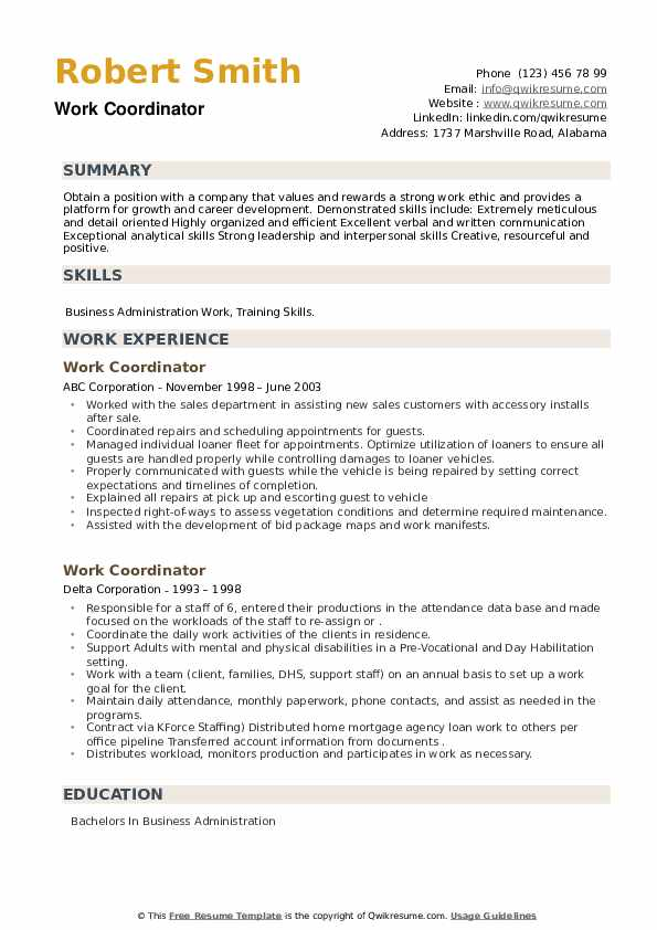 Work Coordinator Resume example