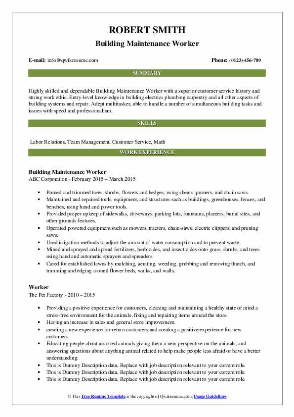 Building Maintenance Worker Resume Format