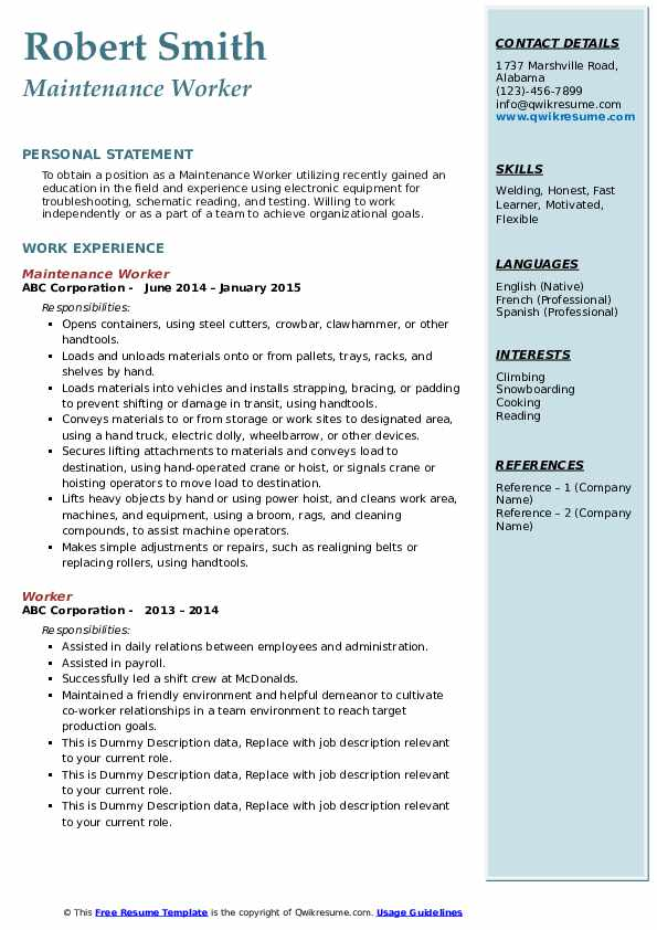 Maintenance Worker  Resume Example