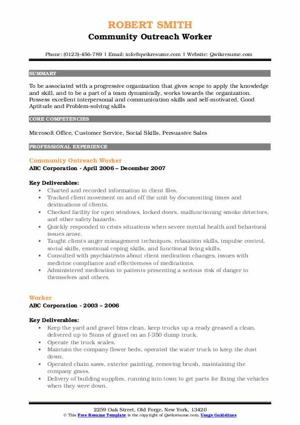 Community Outreach Worker Resume Format