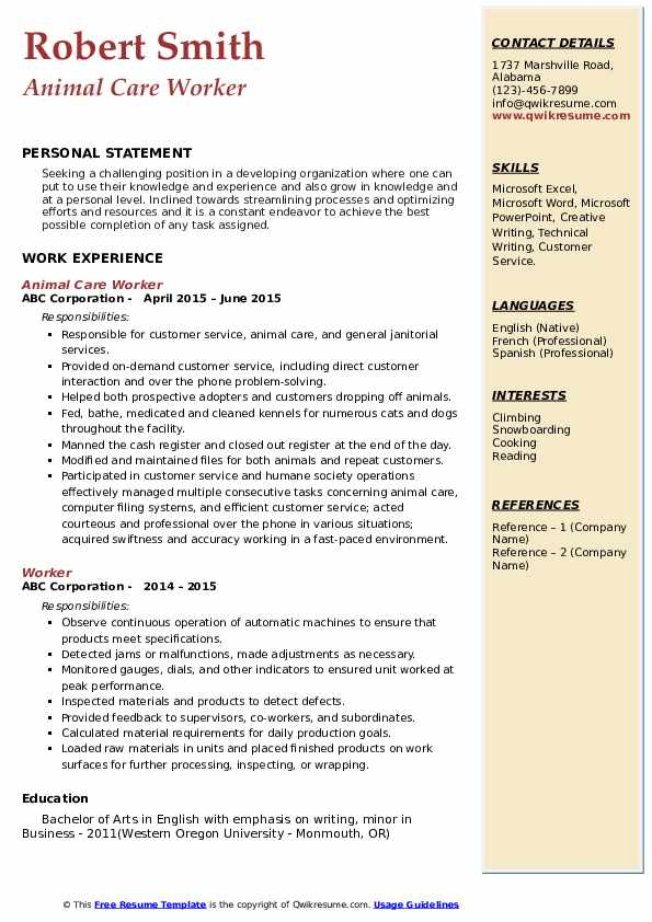 Animal Care Worker Resume Model