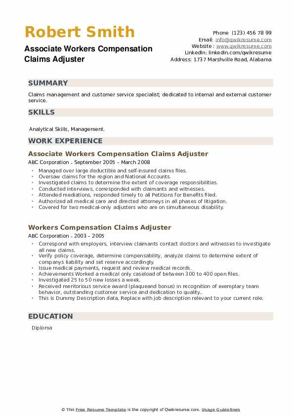 Workers Compensation Claims Adjuster Resume Samples