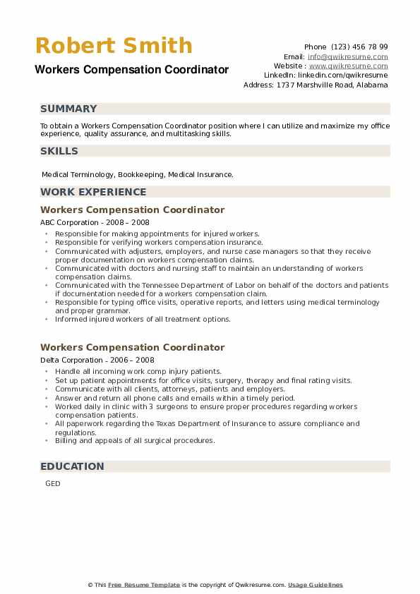 Workers Compensation Coordinator Resume example