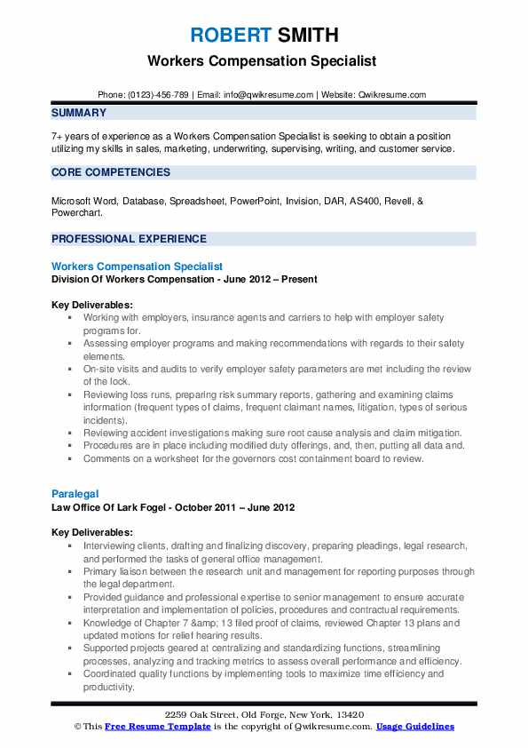 Workers Compensation Specialist  Resume Example