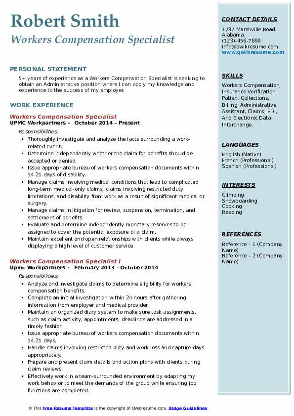 workers compensation specialist resume samples