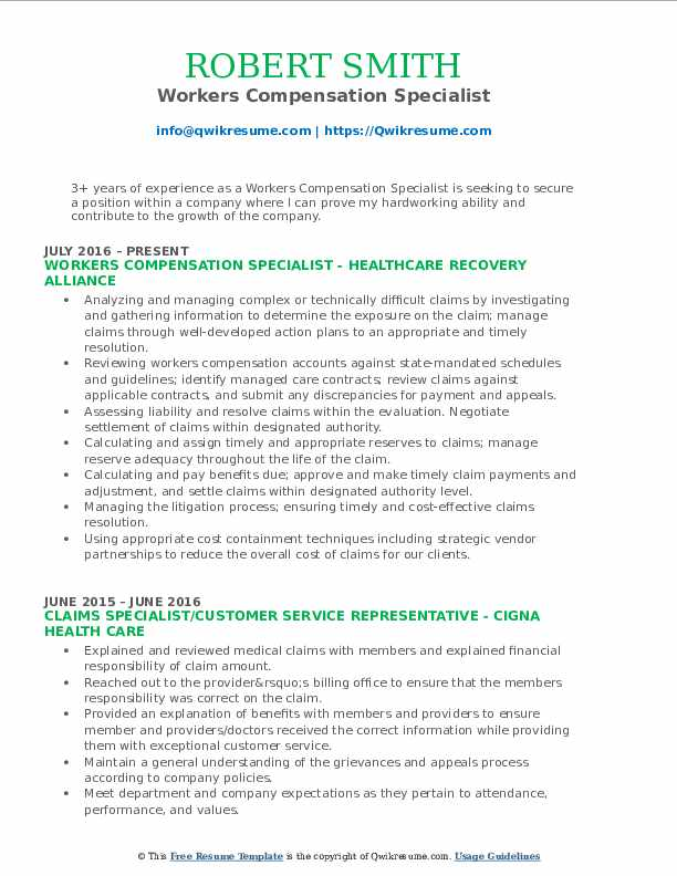 Workers Compensation Specialist Resume Template