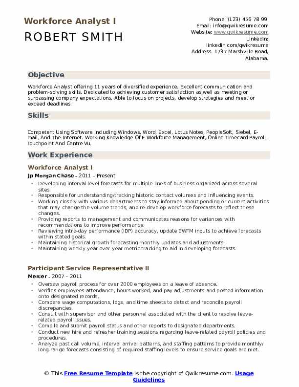 Workforce Analyst I Resume Model