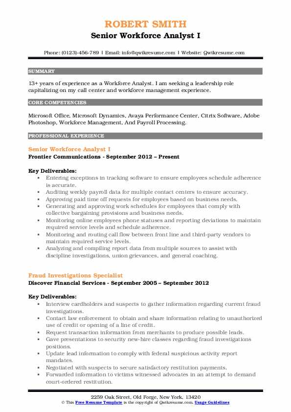 Senior Workforce Analyst I Resume Example