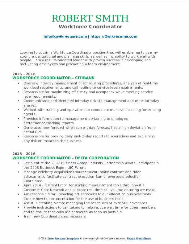 workforce coordinator resume samples  qwikresume