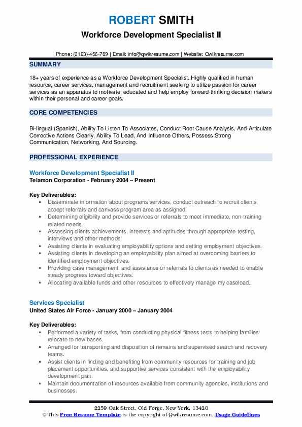 workforce development specialist resume samples