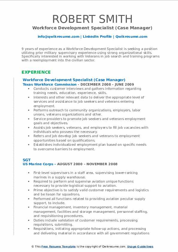 Workforce Development Specialist Resume Samples Qwikresume