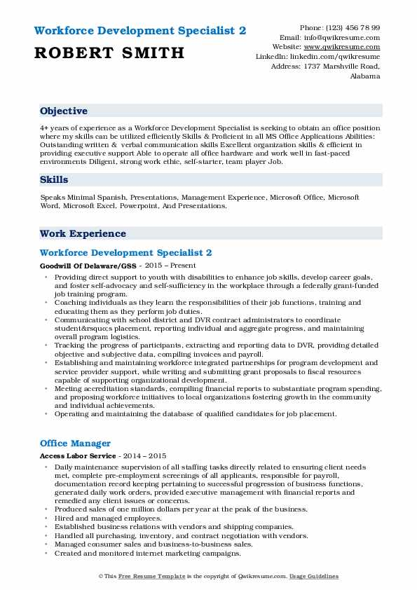 Workforce Development Specialist 2 Resume Sample