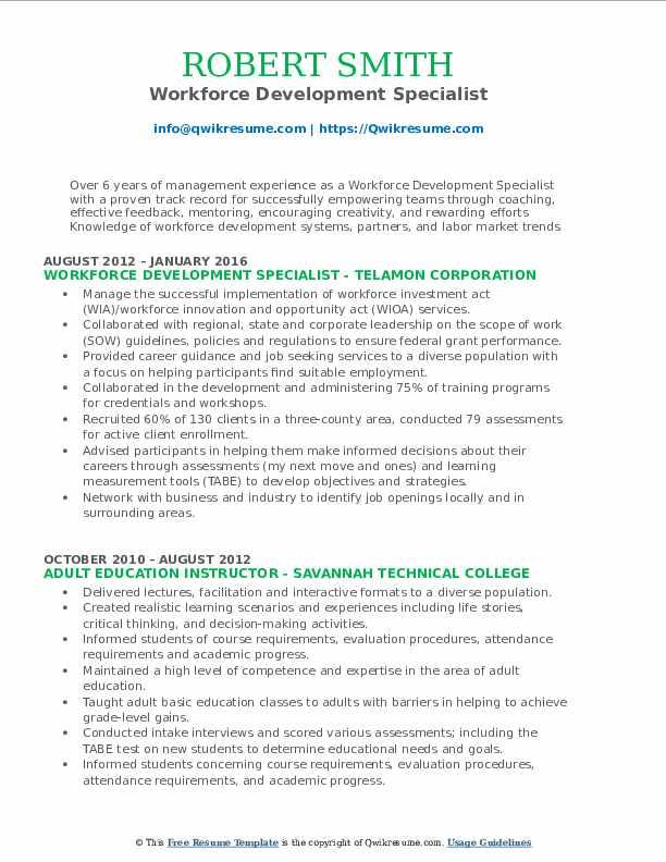 Workforce Development Specialist Resume Format