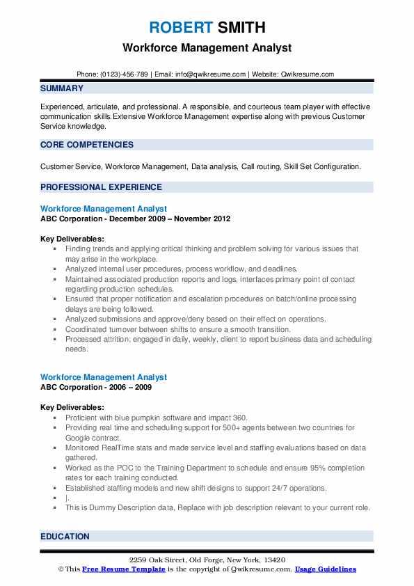 Workforce Management Analyst Resume example