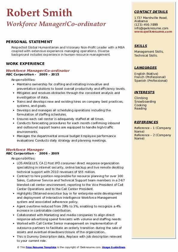 workforce manager resume samples  qwikresume
