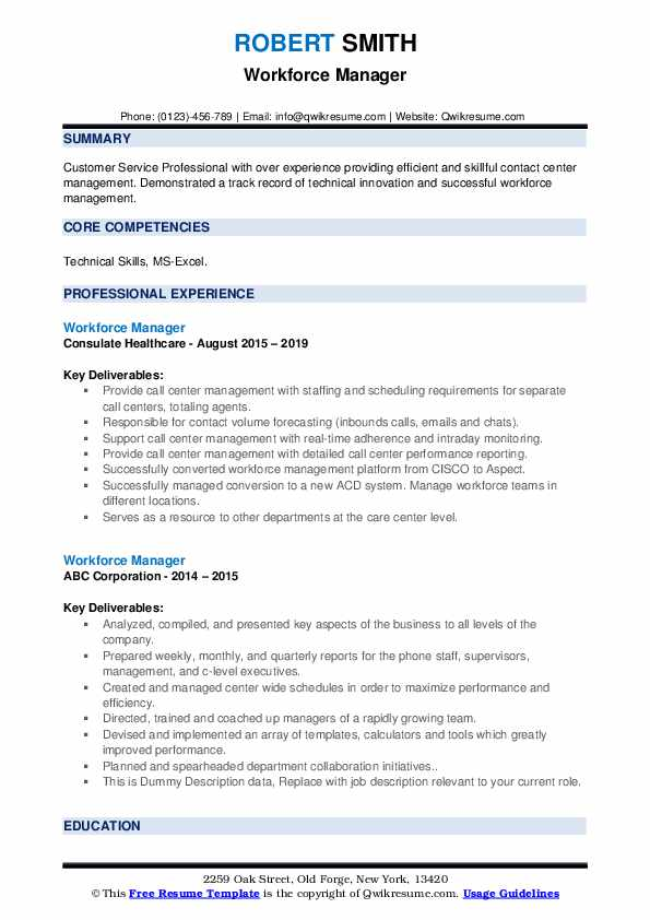 Workforce Manager Resume example
