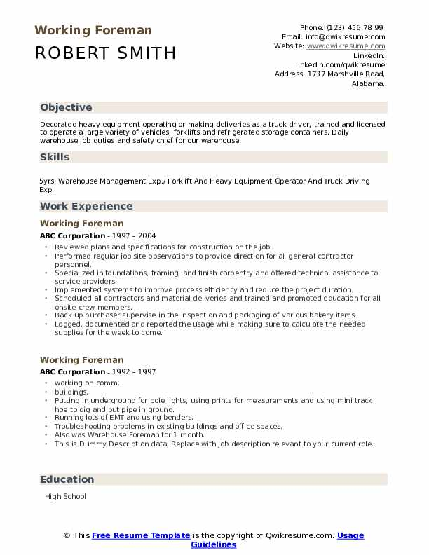 Working Foreman Resume example