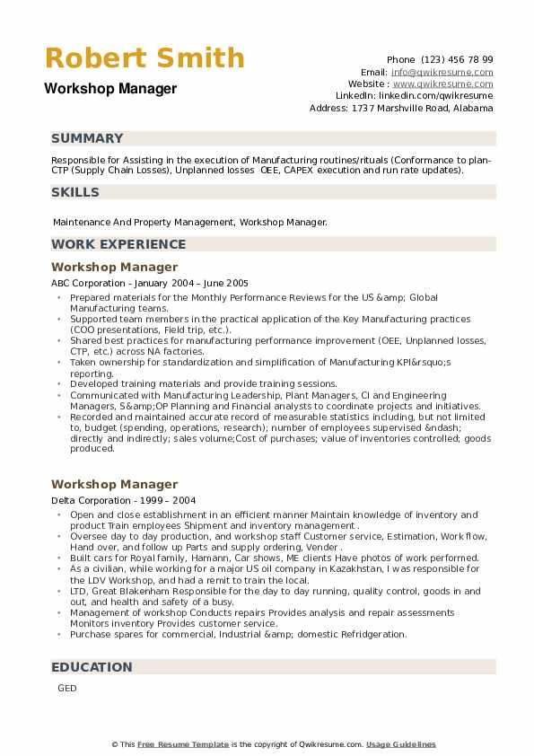Workshop Manager Resume example