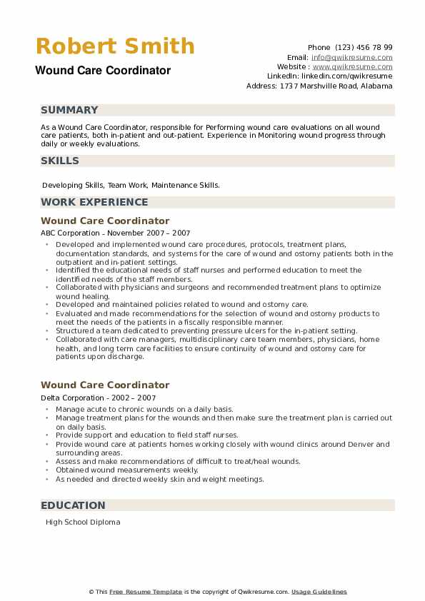 Wound Care Coordinator Resume example