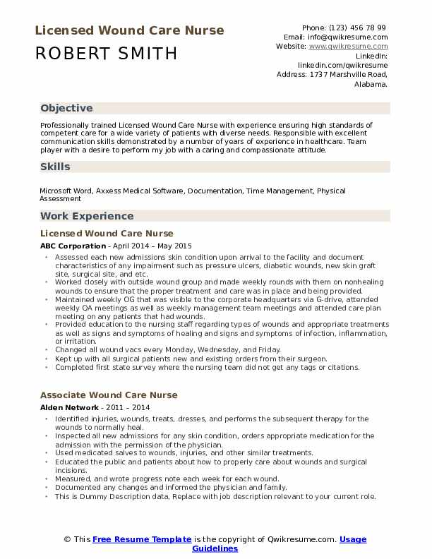 Licensed Wound Care Nurse Resume Template