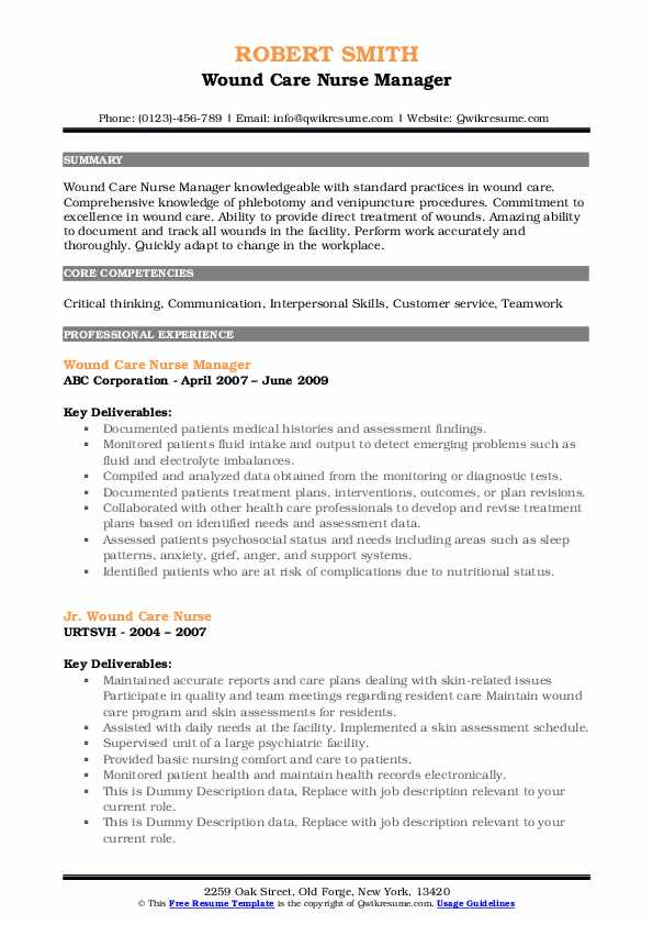Wound Care Nurse Manager Resume Template