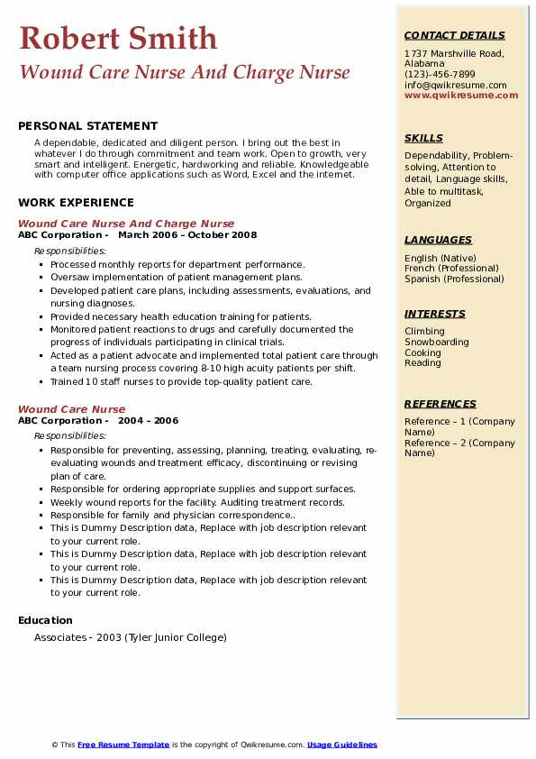 Wound Care Nurse And Charge Nurse Resume Sample