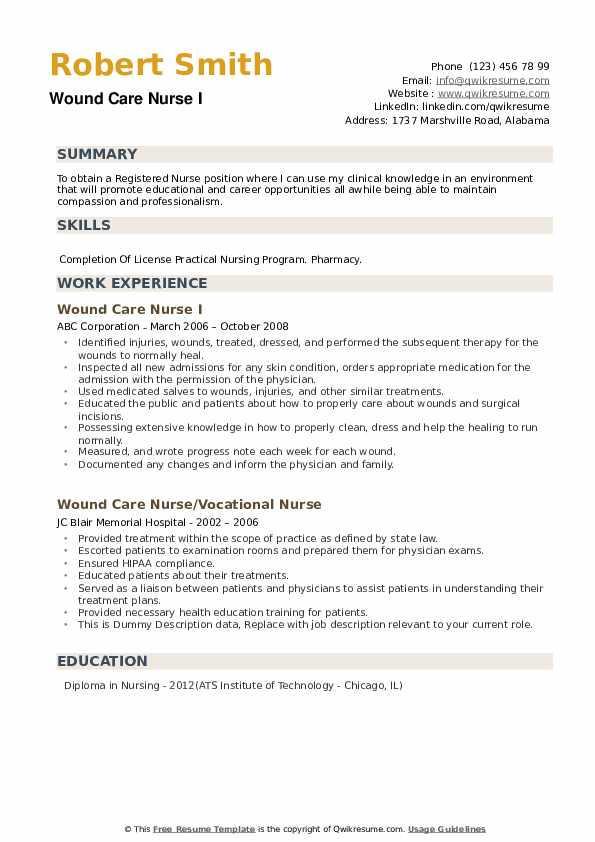 Wound Care Nurse I Resume Example