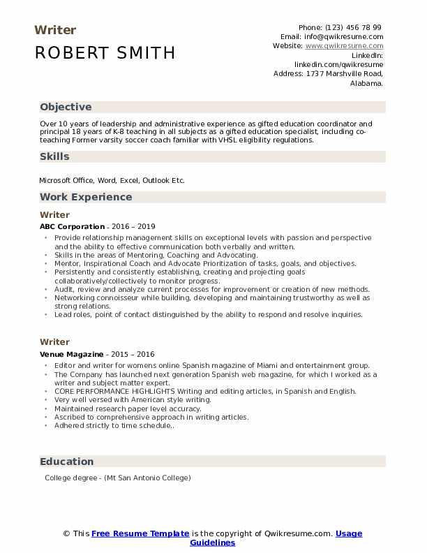 Writer Resume Format