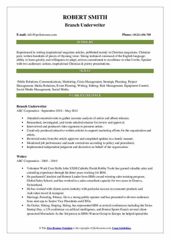 Branch Underwriter Resume Example
