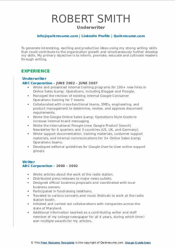 Underwriter Resume Model