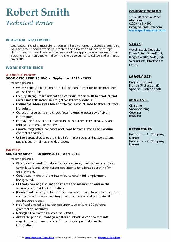 Technical Writer Resume Format