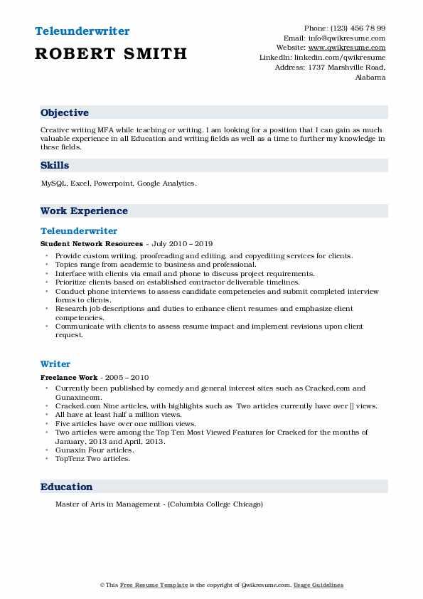 Teleunderwriter Resume Model