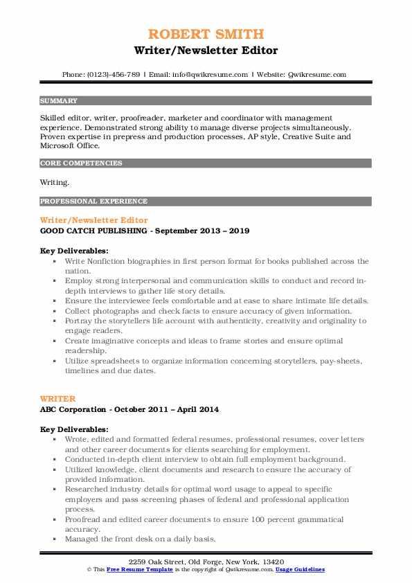 Writer/Newsletter Editor Resume Model