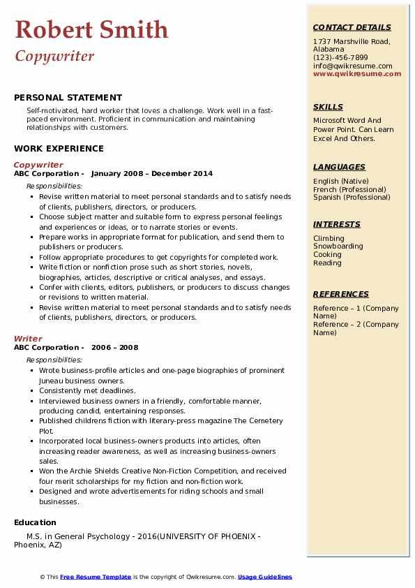 Copywriter Resume Model