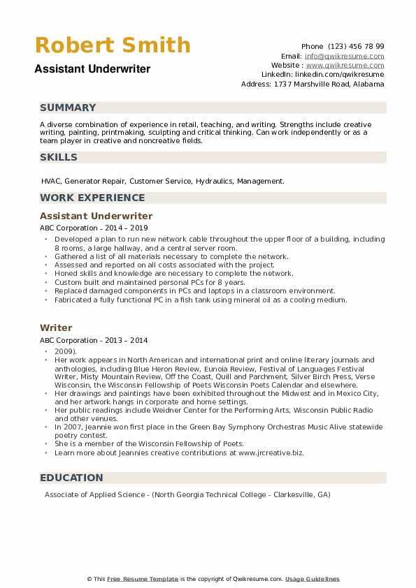 Assistant Underwriter Resume Sample