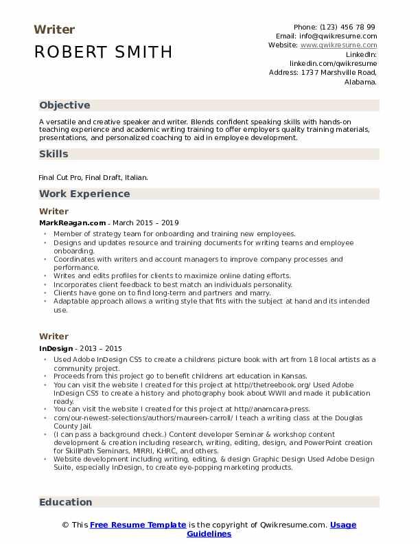 Writer Resume example