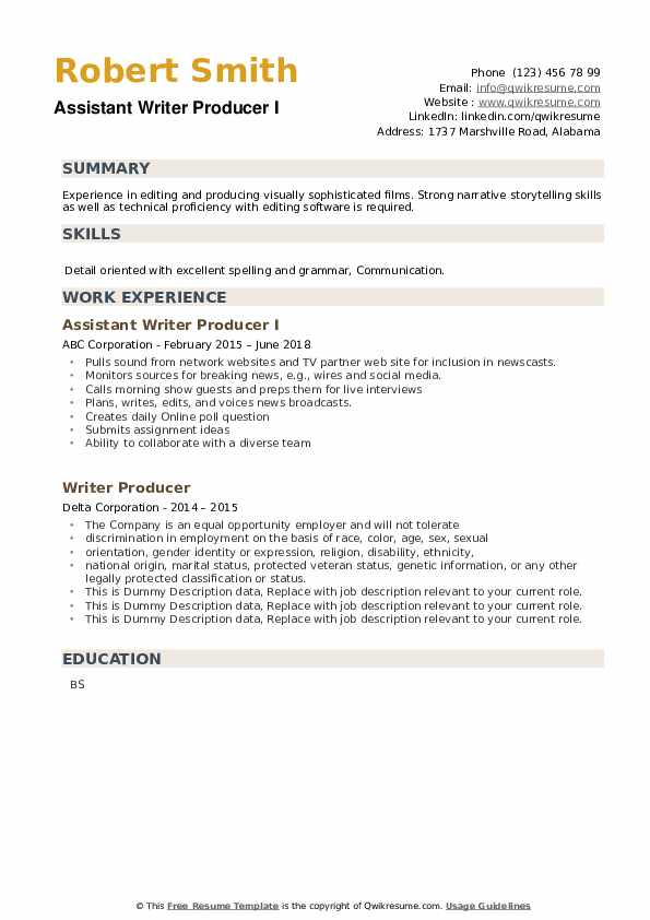 Writer Producer Resume example