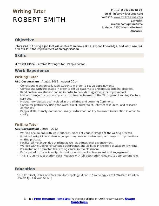 Writing Tutor Resume example