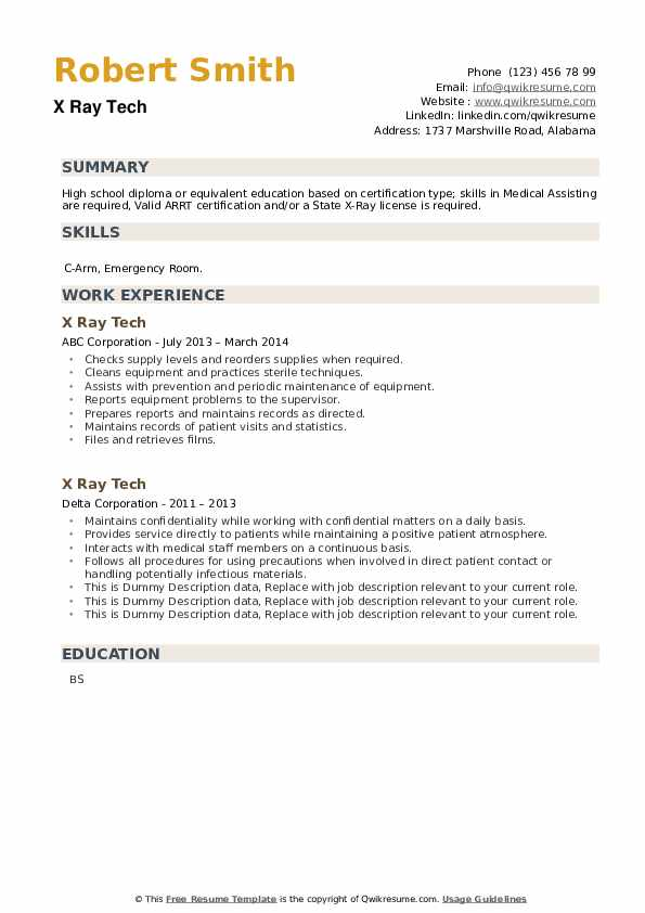 X Ray Tech Resume example