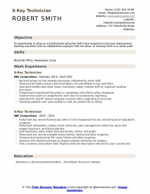 Resume Cover Letter For X Ray Tech Best Display Memorable