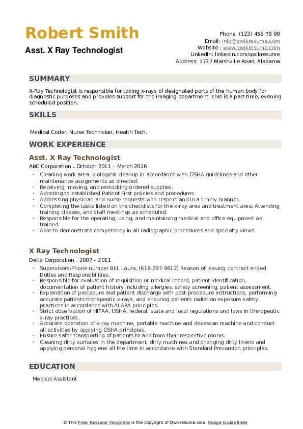 X Ray Technologist Resume example