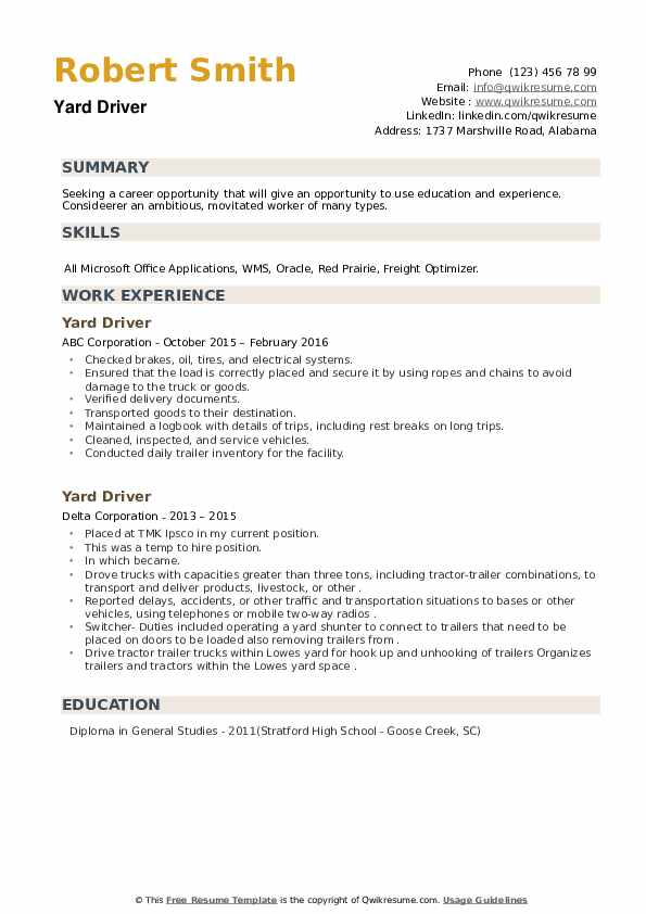 Yard Driver Resume example