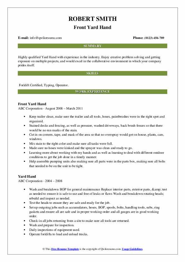 Front Yard Hand Resume Example