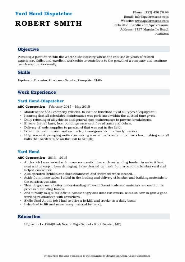 Yard Hand-Dispatcher Resume Format