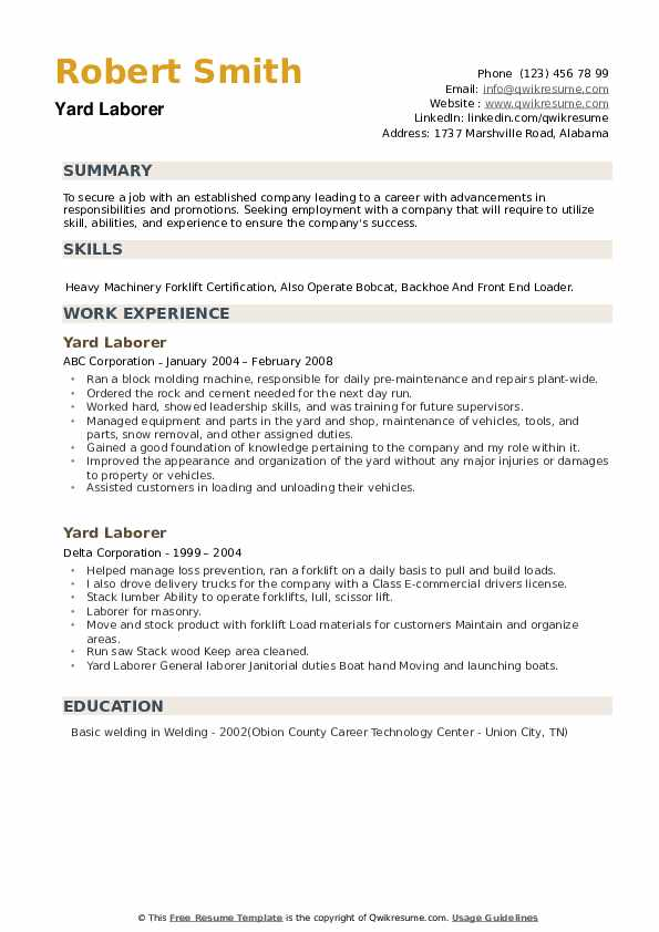 Yard Laborer Resume example