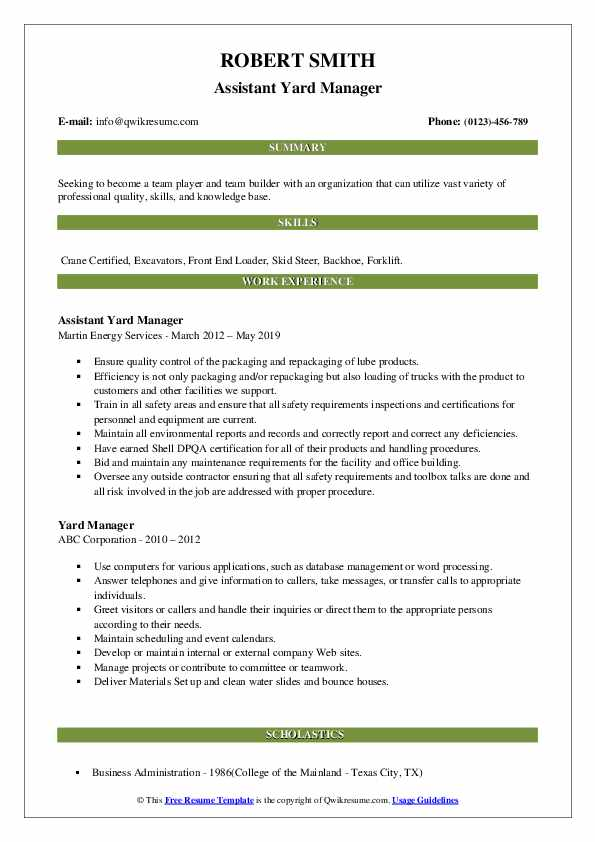 Assistant Yard Manager Resume Example