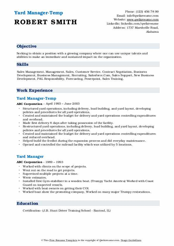 Yard Manager-Temp Resume Template
