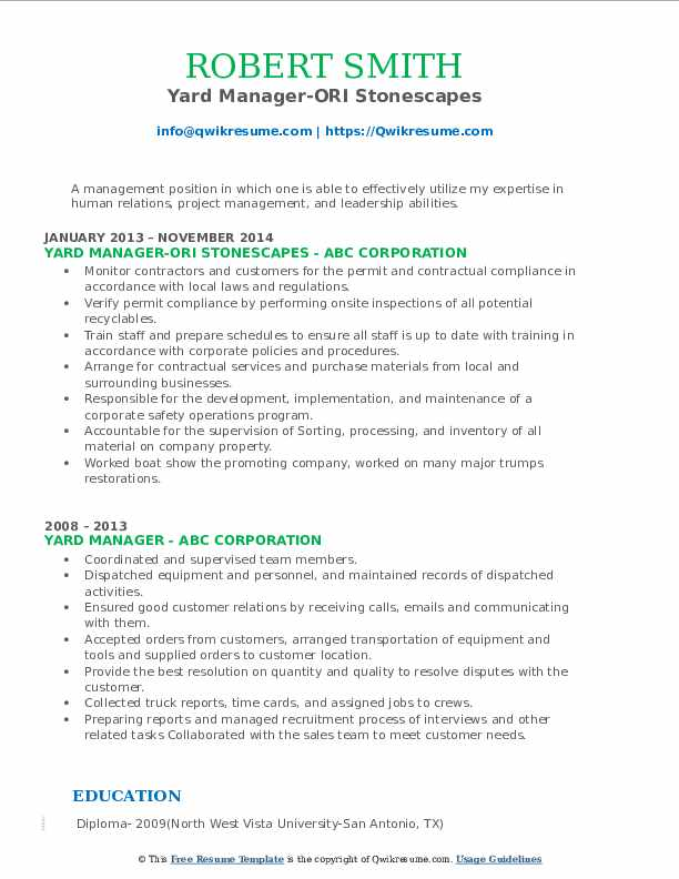 Yard Manager-ORI Stonescapes Resume Template