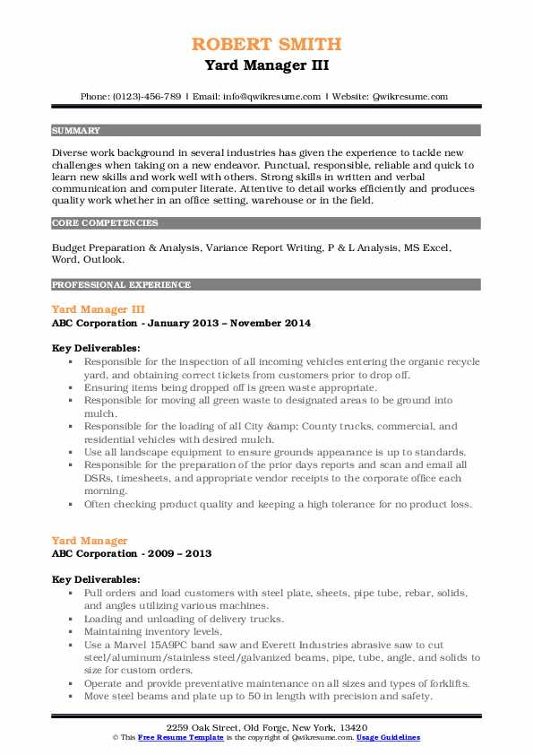 Yard Manager III Resume Template